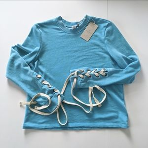 NWT Scuba blue lace up sleeve sweatshirt